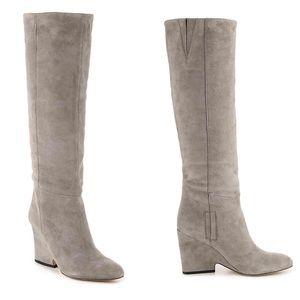 Sam Edelman Grey Suede Knee High Wedge Tall Boot